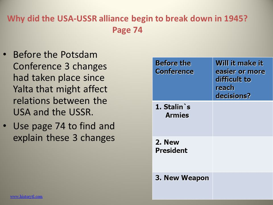 explain why relations between the soviet Changing relations between the superpowers in the 60s and 70s, the usa and the soviet union tried to improve relations their efforts to cooperate along with gorbachev's modernisation of the soviet union finally led to the end of the cold war.
