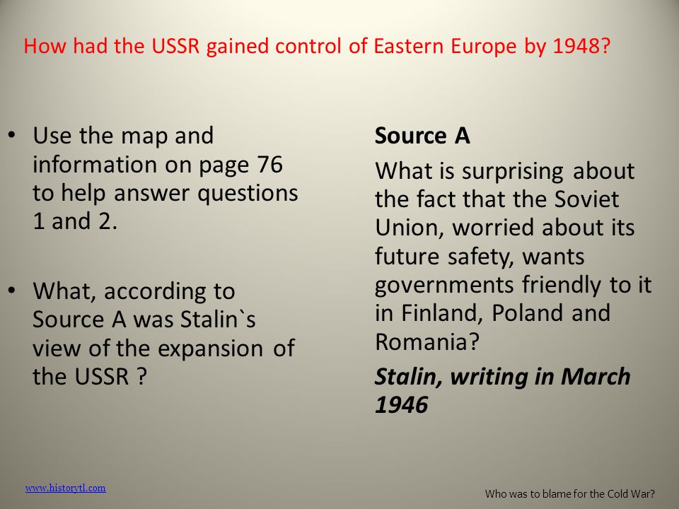How had the USSR gained control of Eastern Europe by 1948