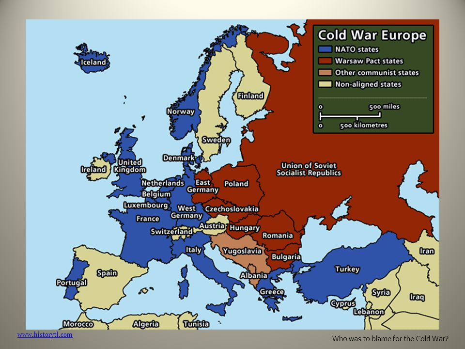 blame cold war 2 The cold war was caused by the social climate and tension in europeat the end of world war ii and by the increasing power struggles between the soviet union [and the united states] economic separation between the soviets and the west also heightened tensions, along with the threat of nuclear war.