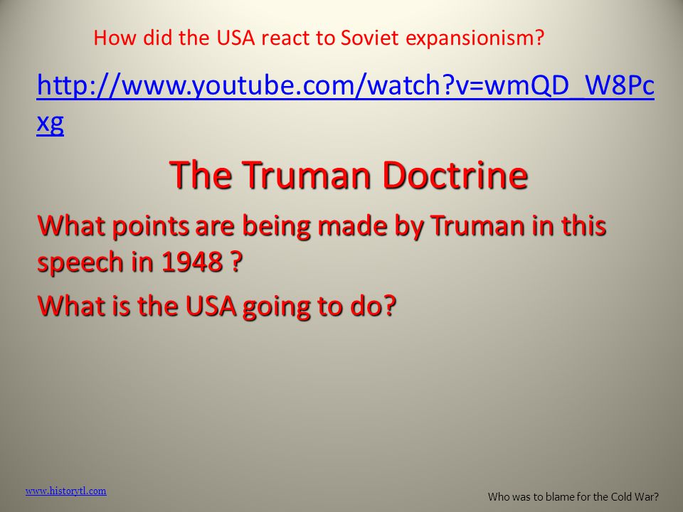How did the USA react to Soviet expansionism