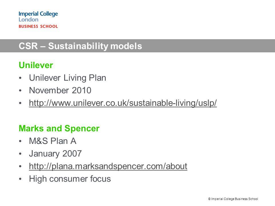 CSR – Sustainability models