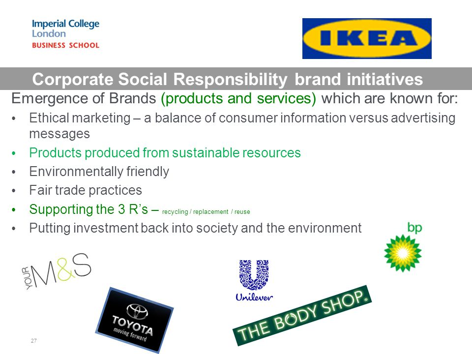 Corporate Social Responsibility brand initiatives