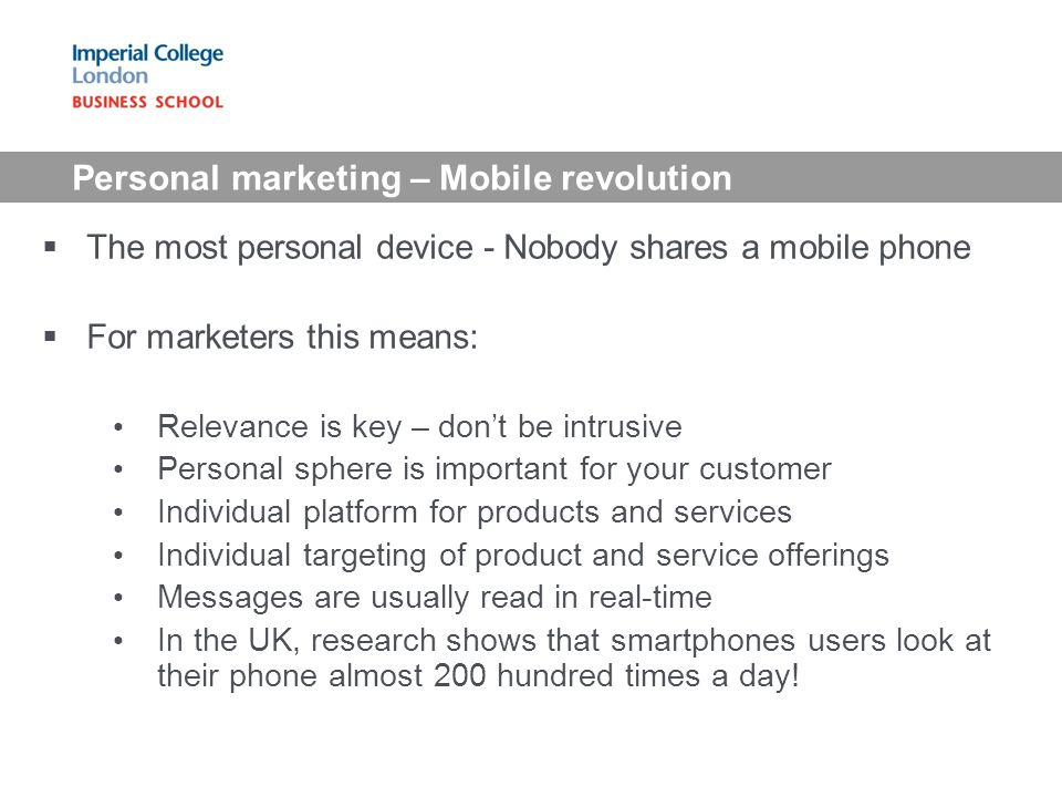 Personal marketing – Mobile revolution