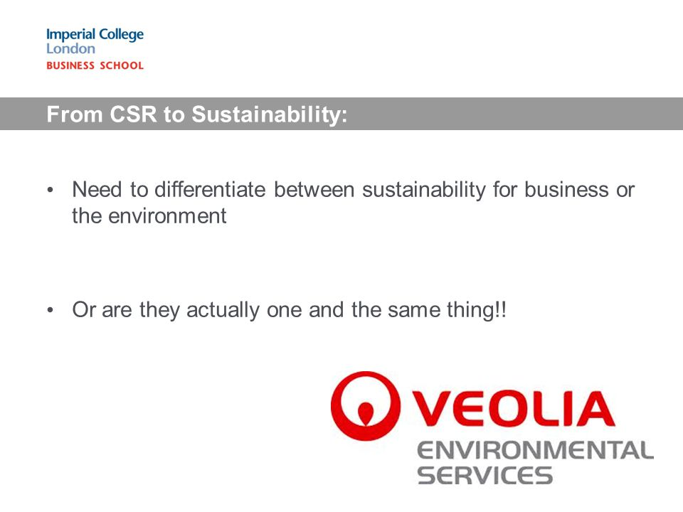 From CSR to Sustainability: