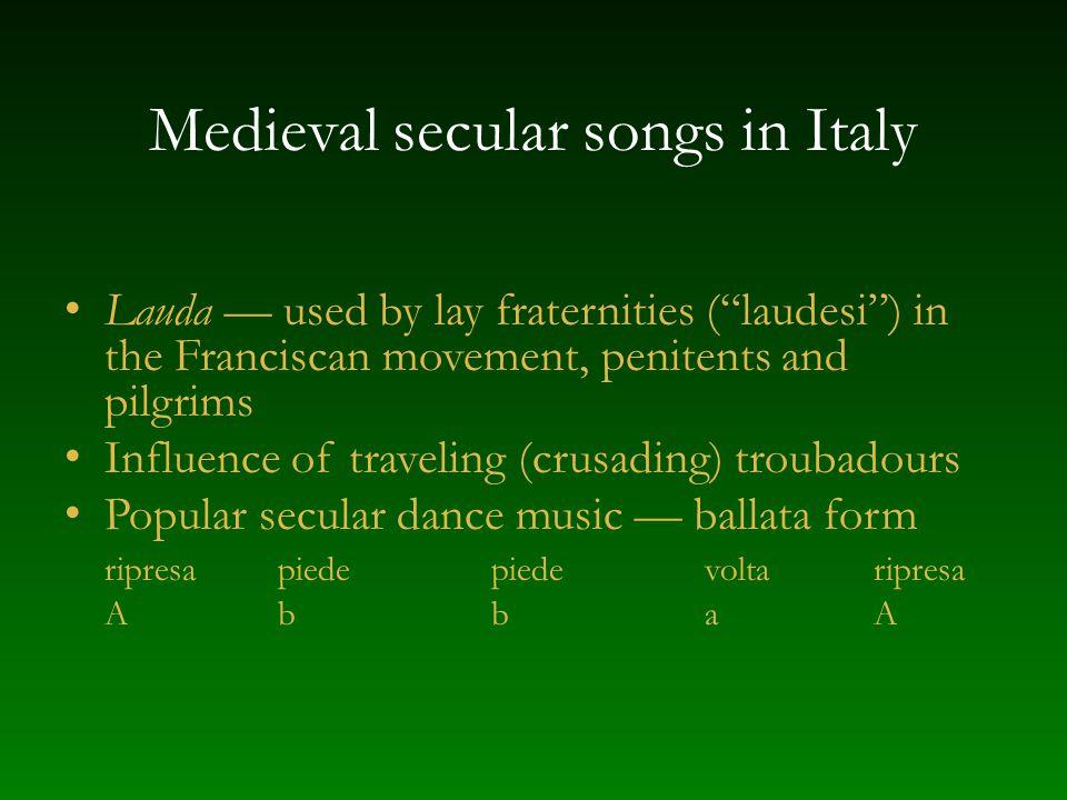 Medieval secular songs in Italy