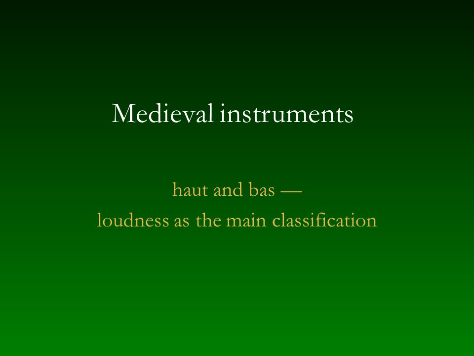 loudness as the main classification