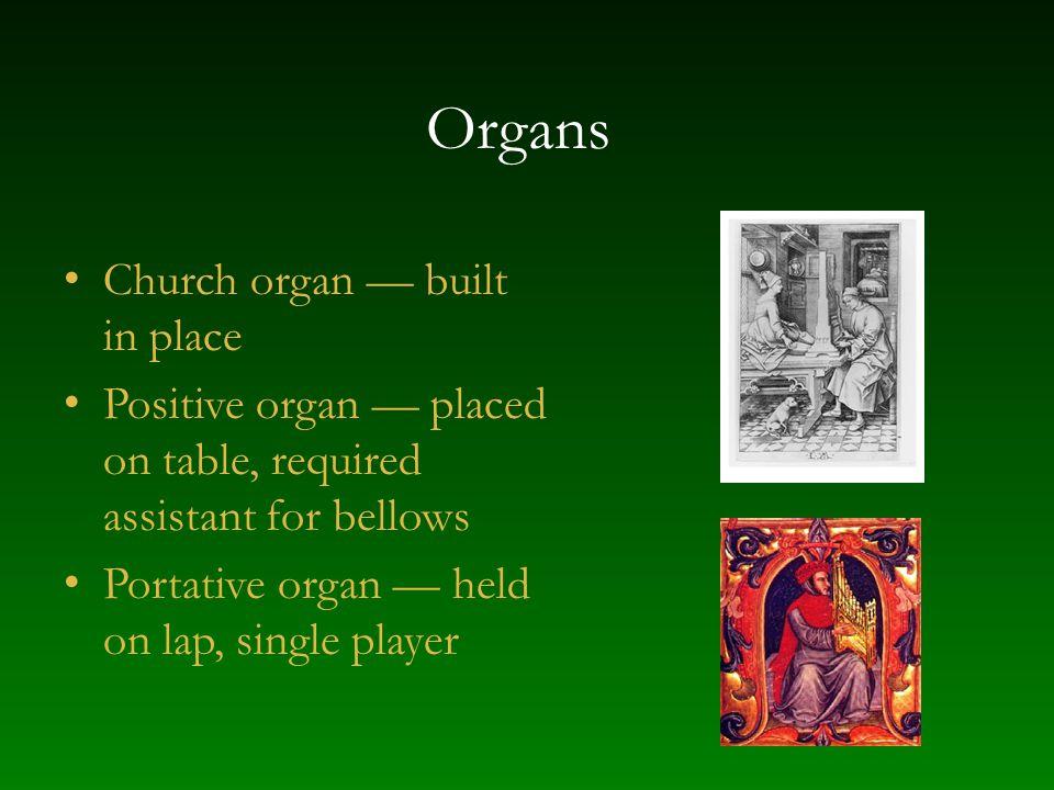 Organs Church organ — built in place