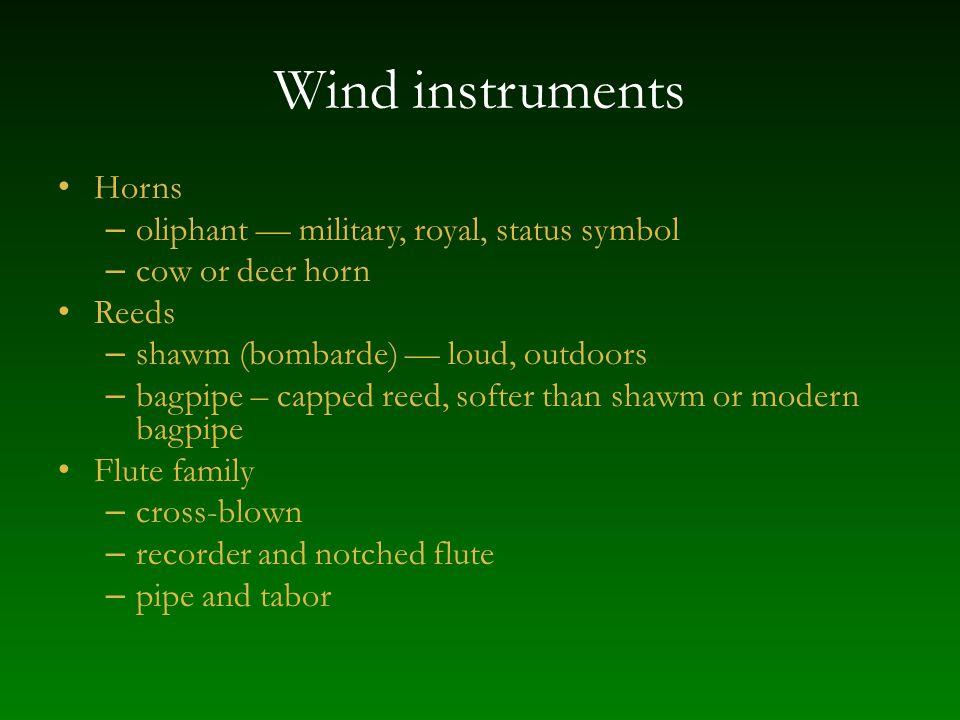 Wind instruments Horns oliphant — military, royal, status symbol