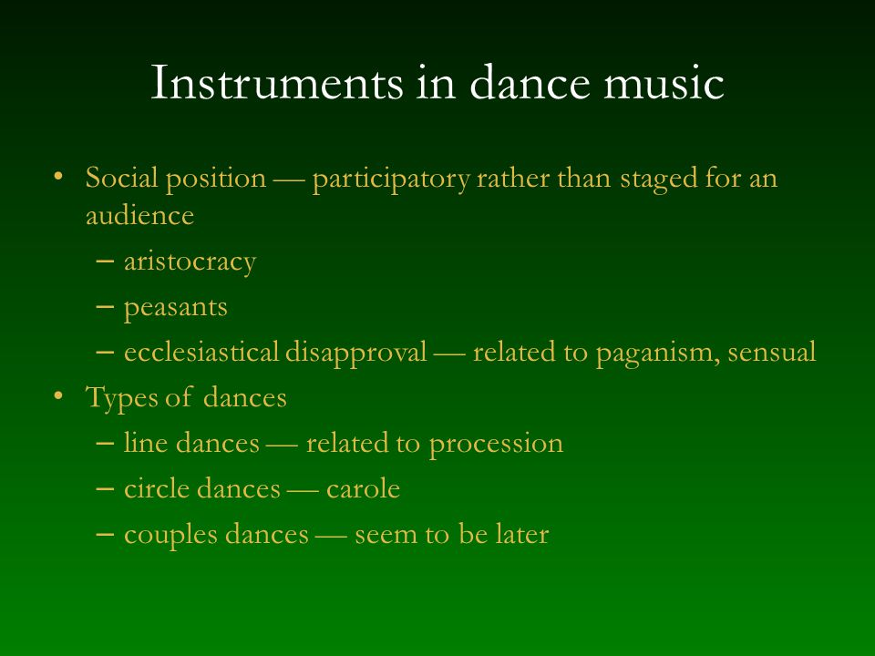 Instruments in dance music
