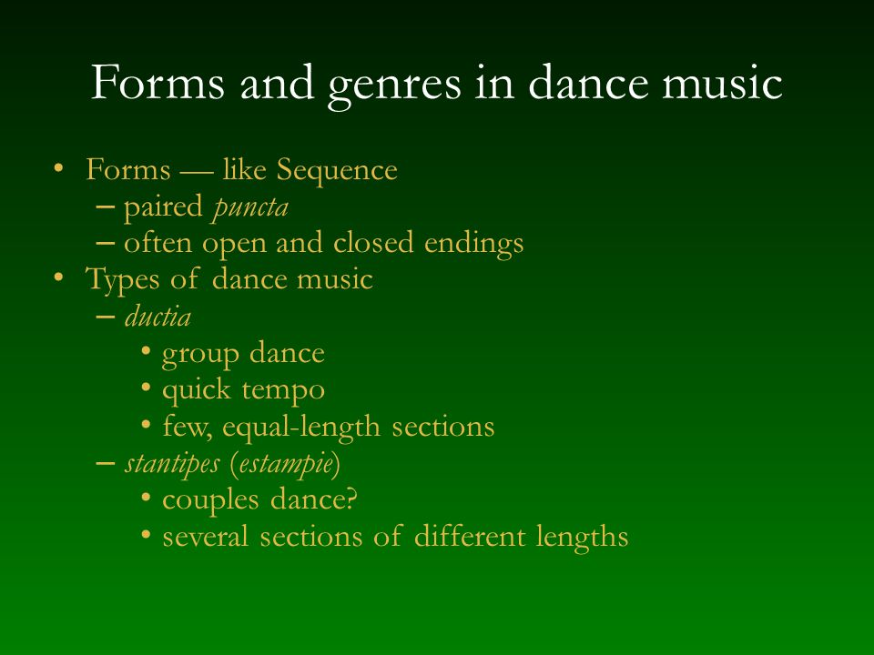 Forms and genres in dance music
