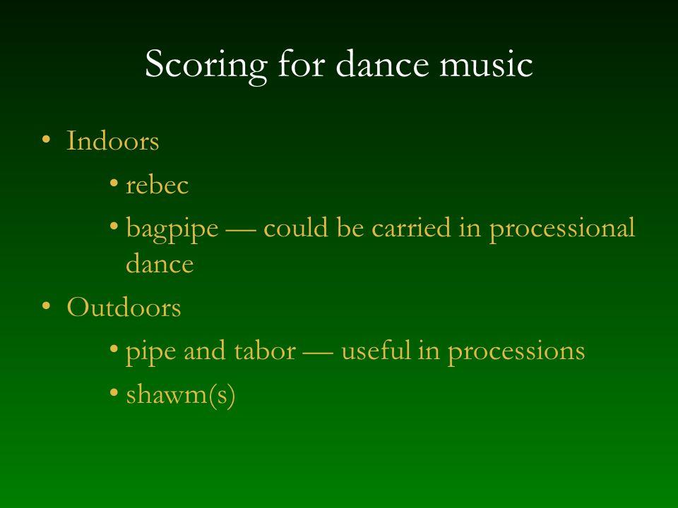 Scoring for dance music