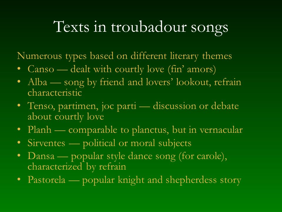 Texts in troubadour songs