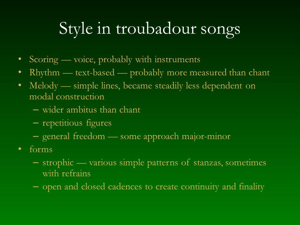 Style in troubadour songs