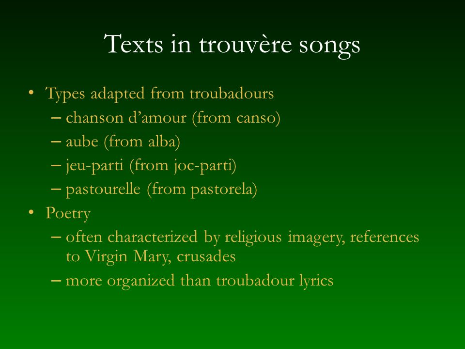 Texts in trouvère songs