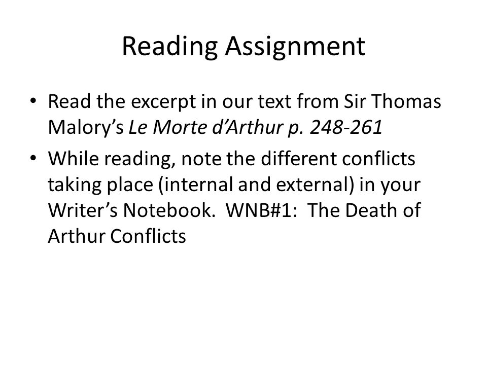 Reading Assignment Read the excerpt in our text from Sir Thomas Malory's Le Morte d'Arthur p. 248-261.