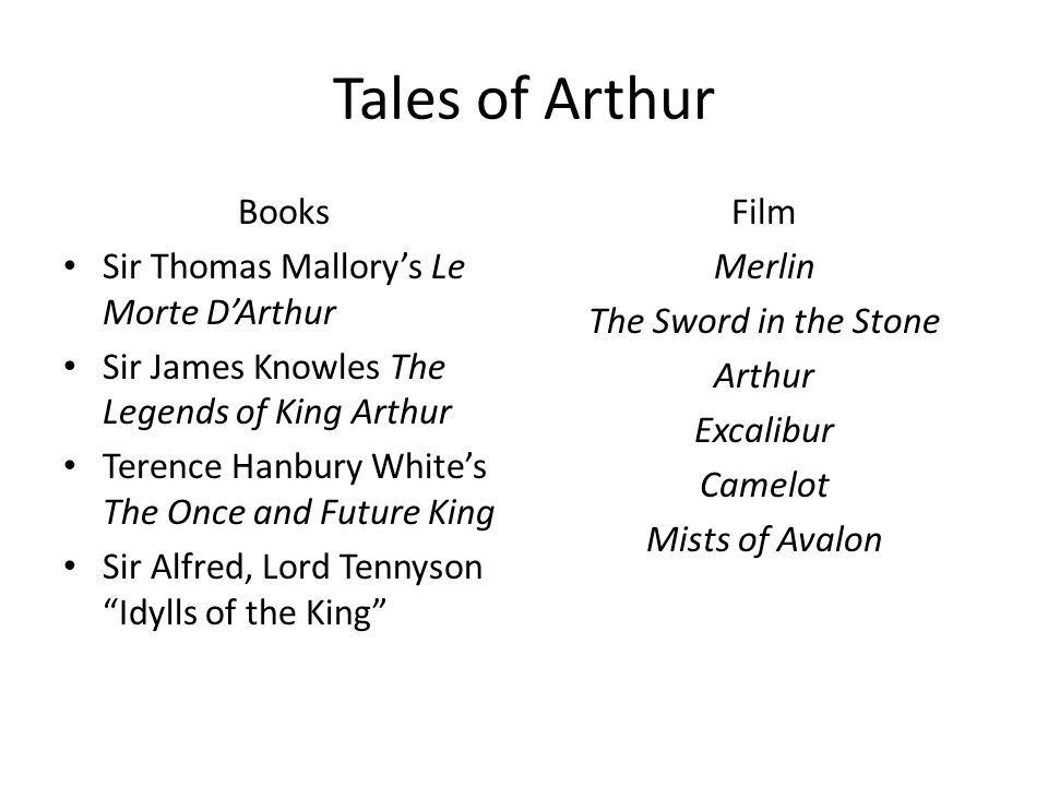 Tales of Arthur Books Sir Thomas Mallory's Le Morte D'Arthur