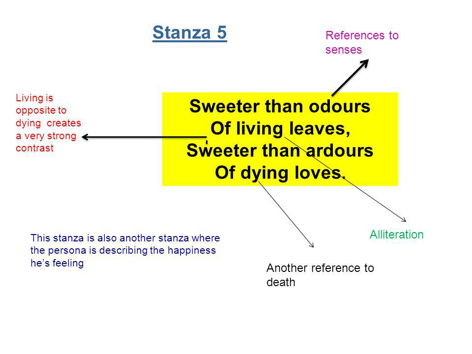 Stanza 5 References to senses. Living is opposite to dying creates a very strong contrast.
