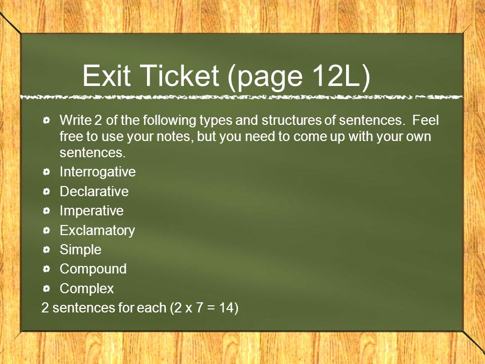 Exit Ticket (page 12L)