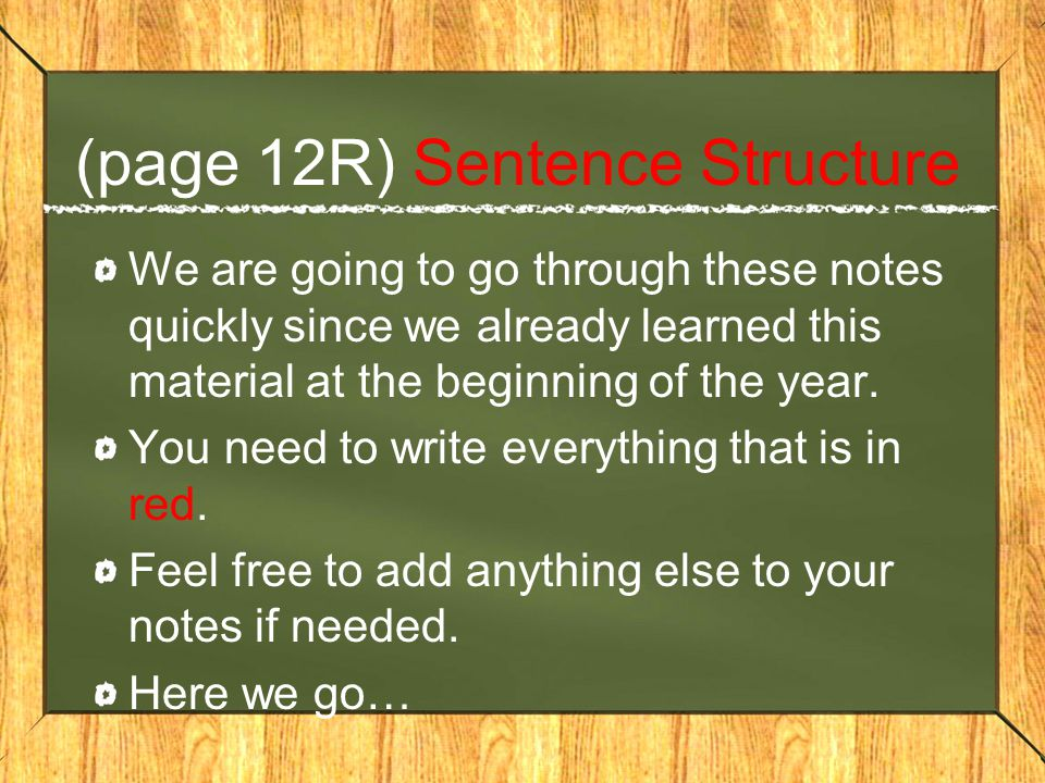 (page 12R) Sentence Structure