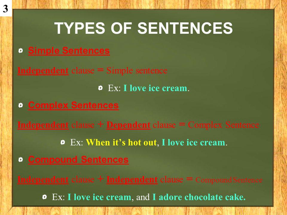 Types of sentences 3 Simple Sentences