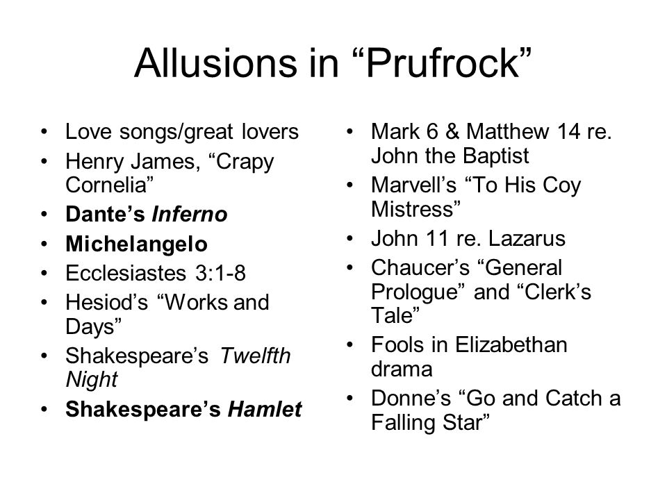 Allusions in Prufrock