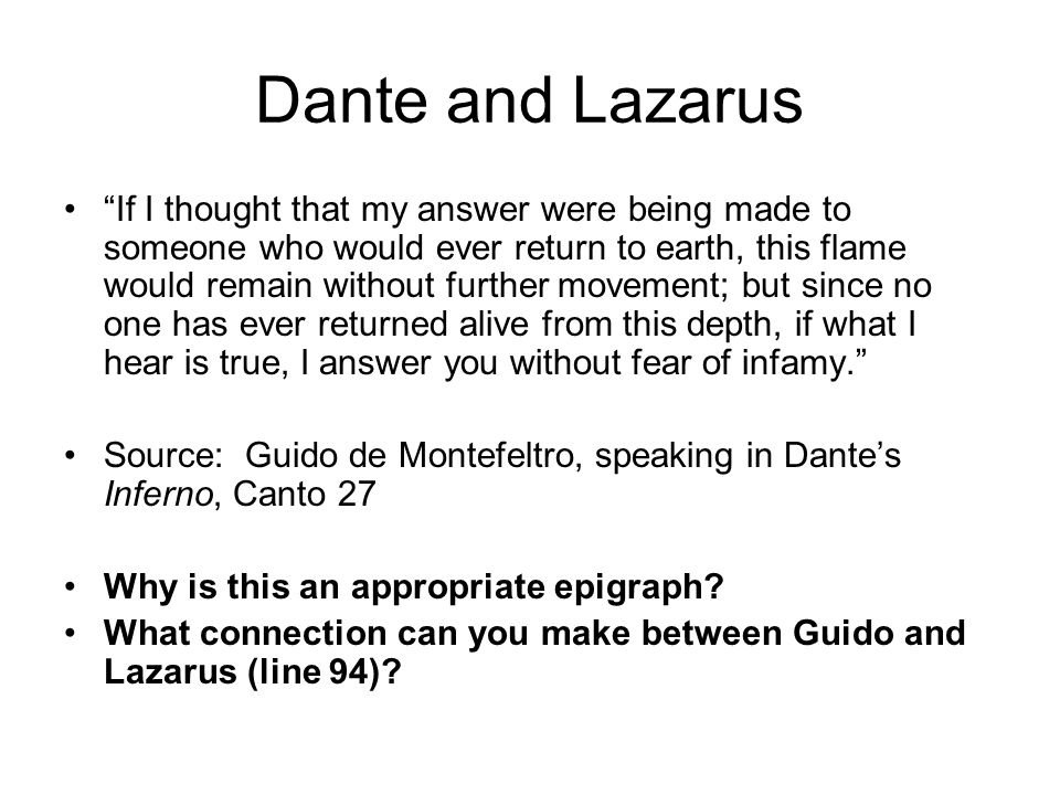 Dante and Lazarus