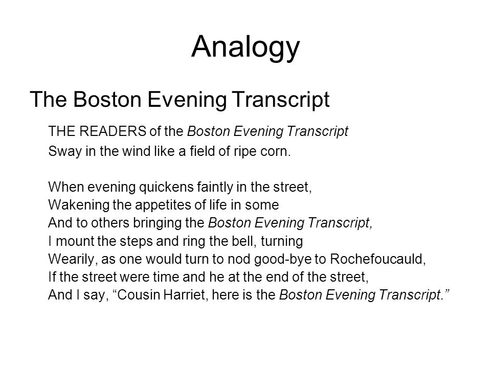 Analogy The Boston Evening Transcript