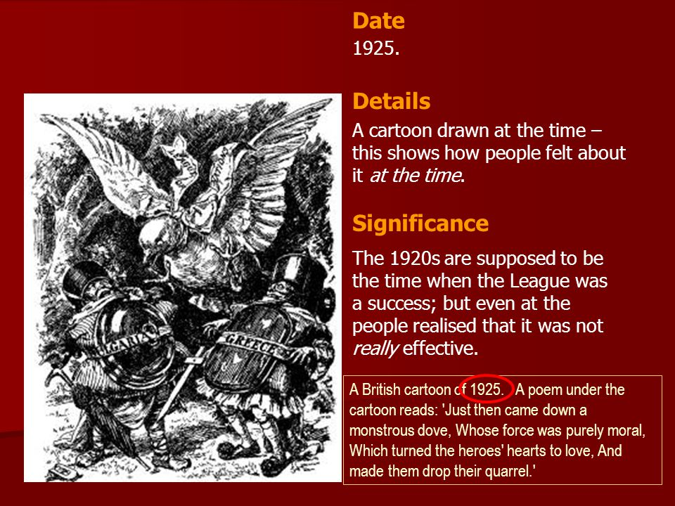Date Details Significance 1925.