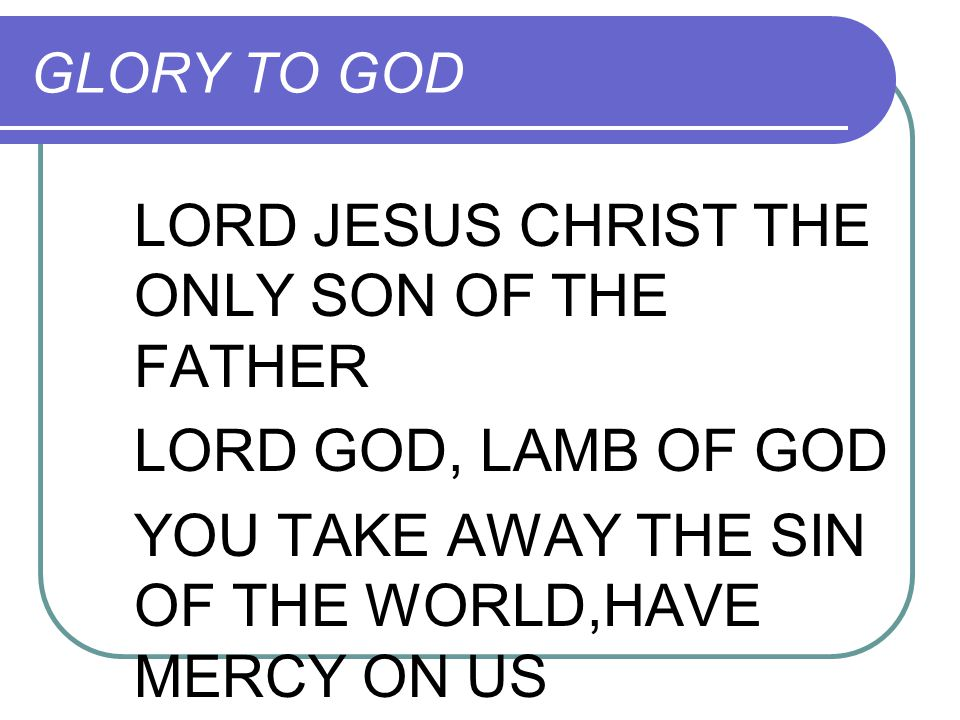 LORD JESUS CHRIST THE ONLY SON OF THE FATHER