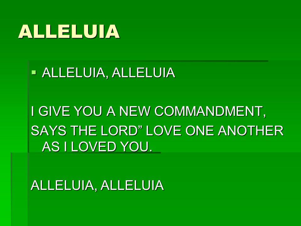 ALLELUIA ALLELUIA, ALLELUIA I GIVE YOU A NEW COMMANDMENT,
