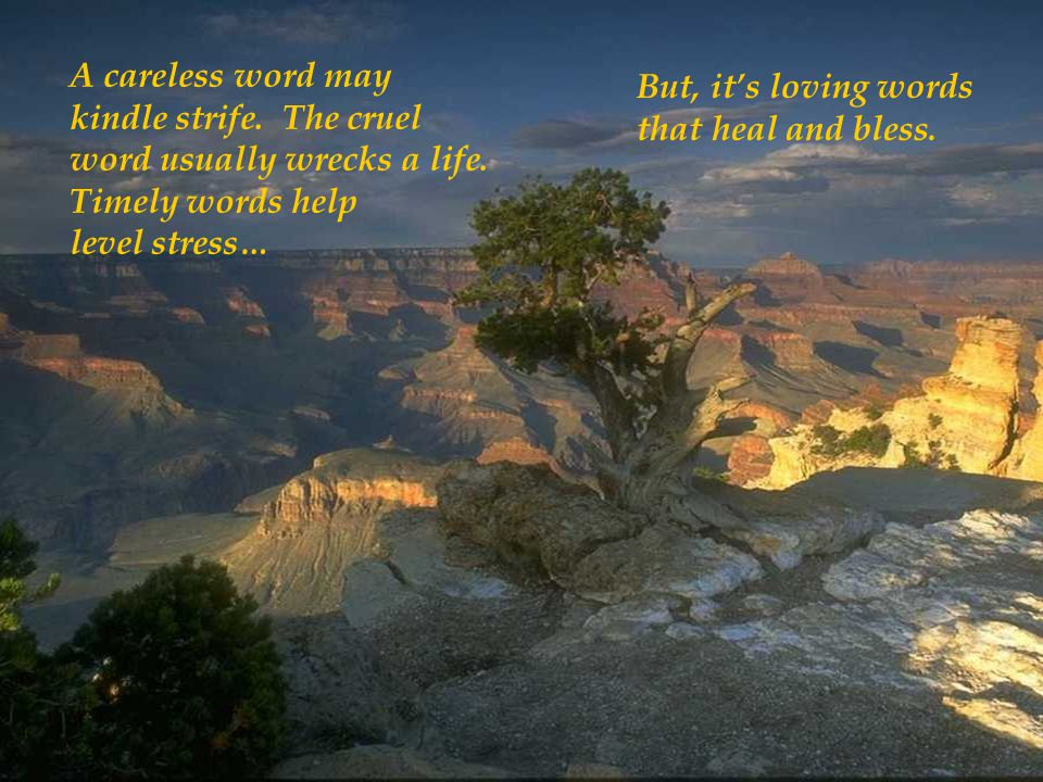 A careless word may kindle strife. The cruel. word usually wrecks a life. Timely words help. level stress…