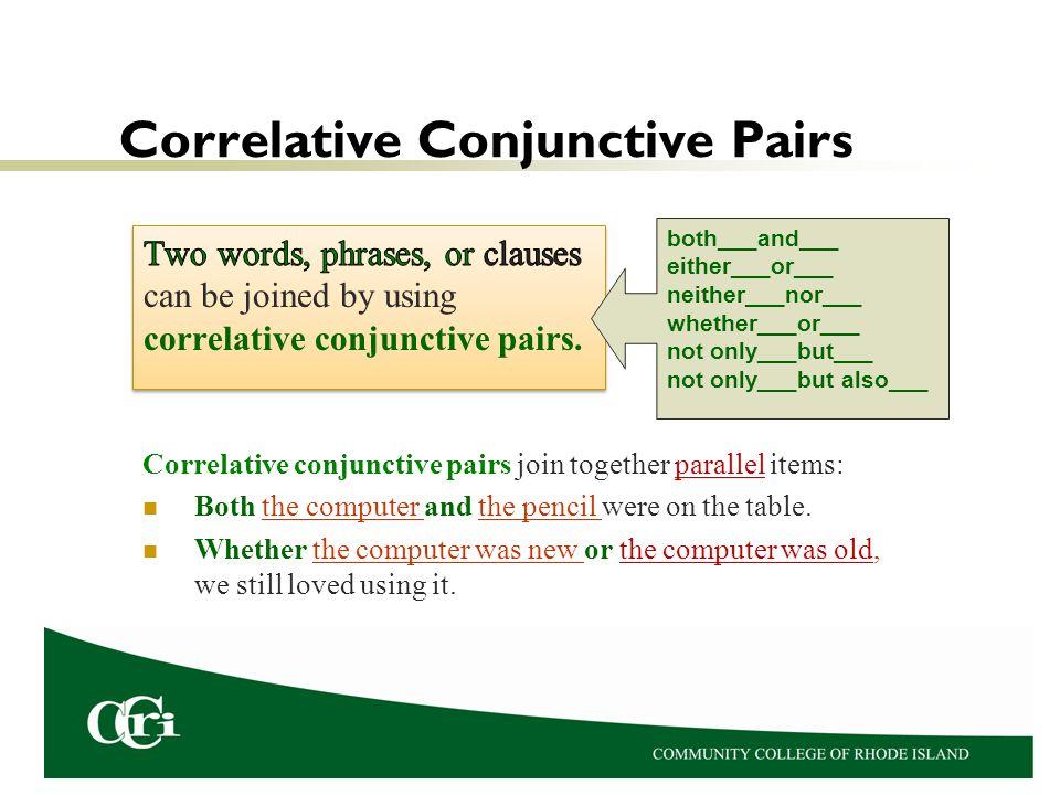 Correlative Conjunctive Pairs