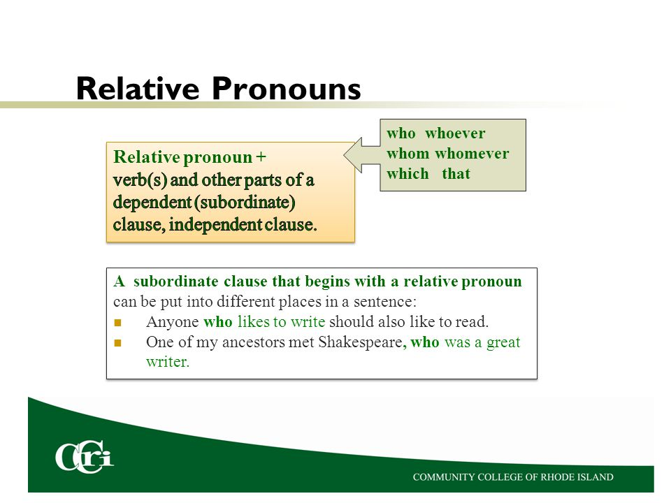 Relative Pronouns Relative pronoun +