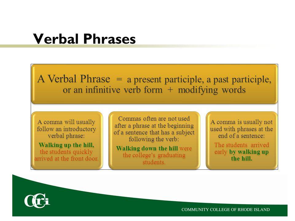 Verbal Phrases A Verbal Phrase = a present participle, a past participle, or an infinitive verb form + modifying words.