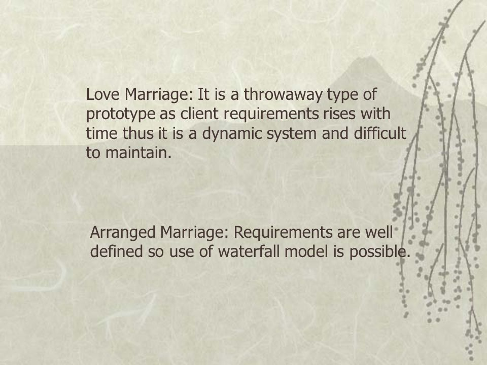 Love Marriage: It is a throwaway type of prototype as client requirements rises with time thus it is a dynamic system and difficult to maintain.