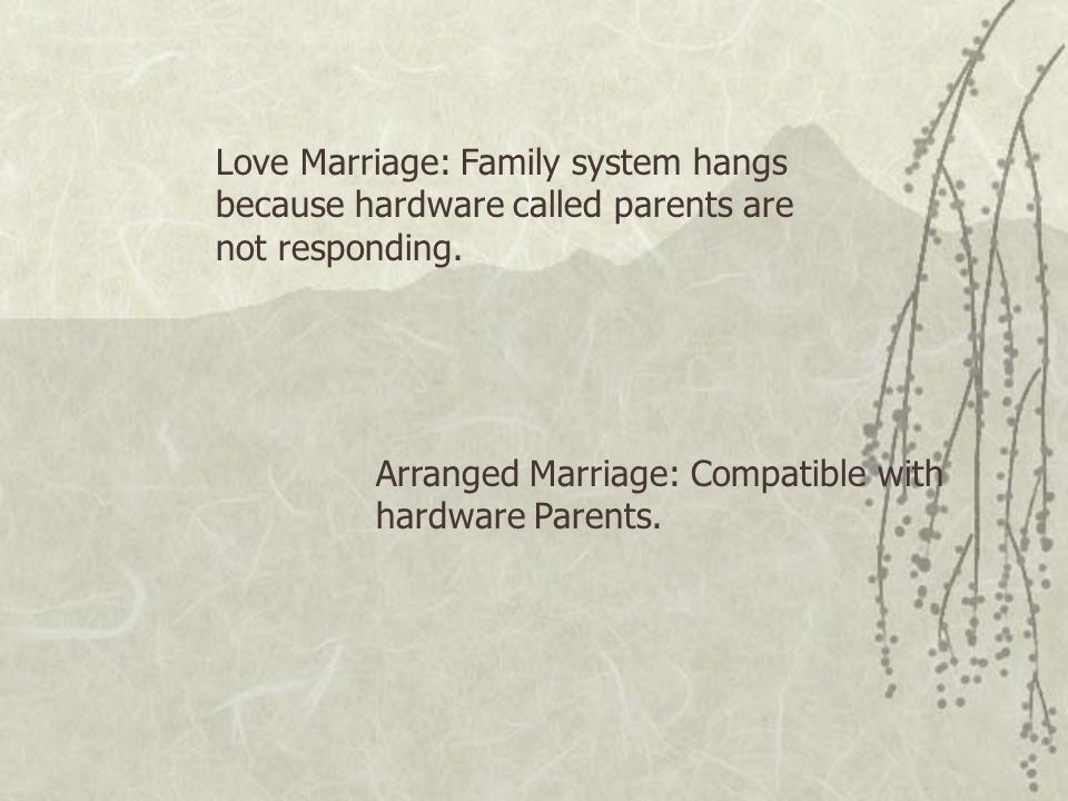 Love Marriage: Family system hangs because hardware called parents are not responding.