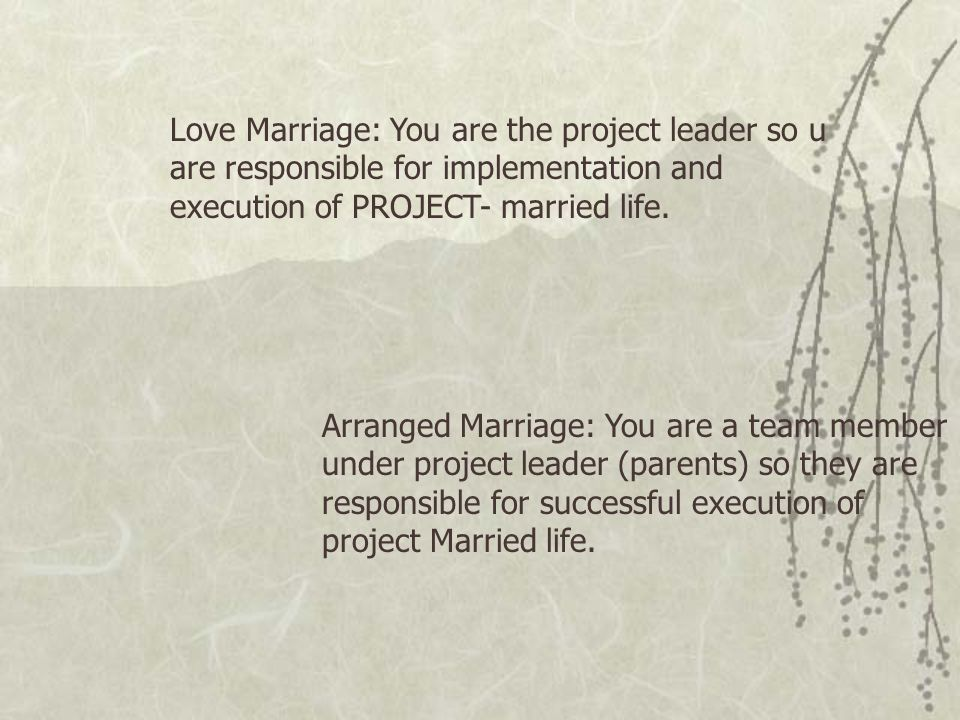 Love Marriage: You are the project leader so u are responsible for implementation and execution of PROJECT- married life.