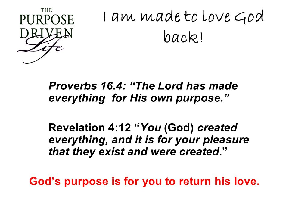 I am made to love God back!