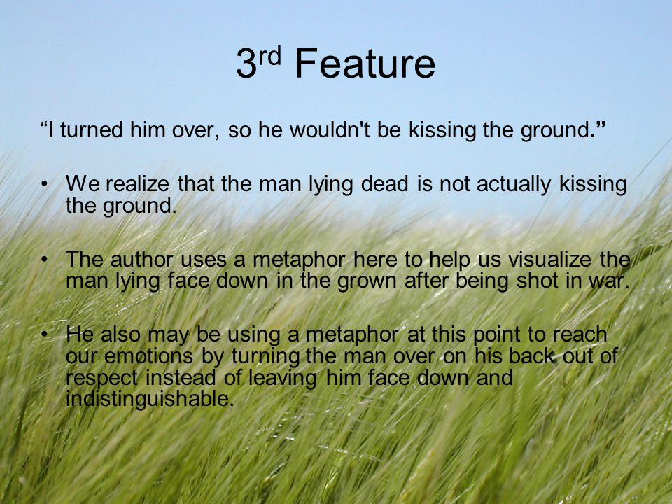 3rd Feature I turned him over, so he wouldn t be kissing the ground.