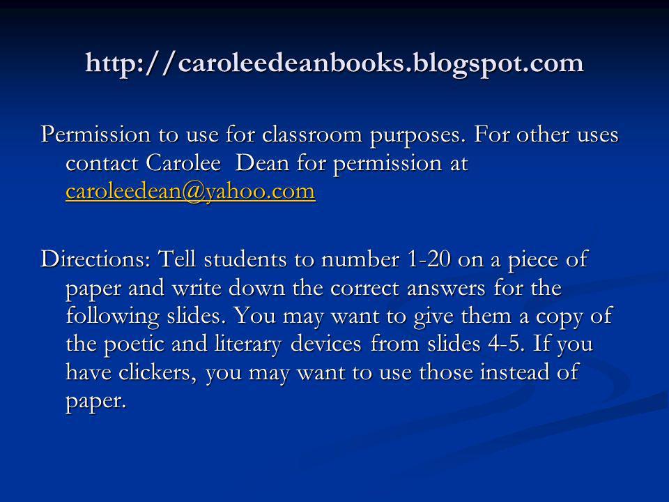 http://caroleedeanbooks.blogspot.com