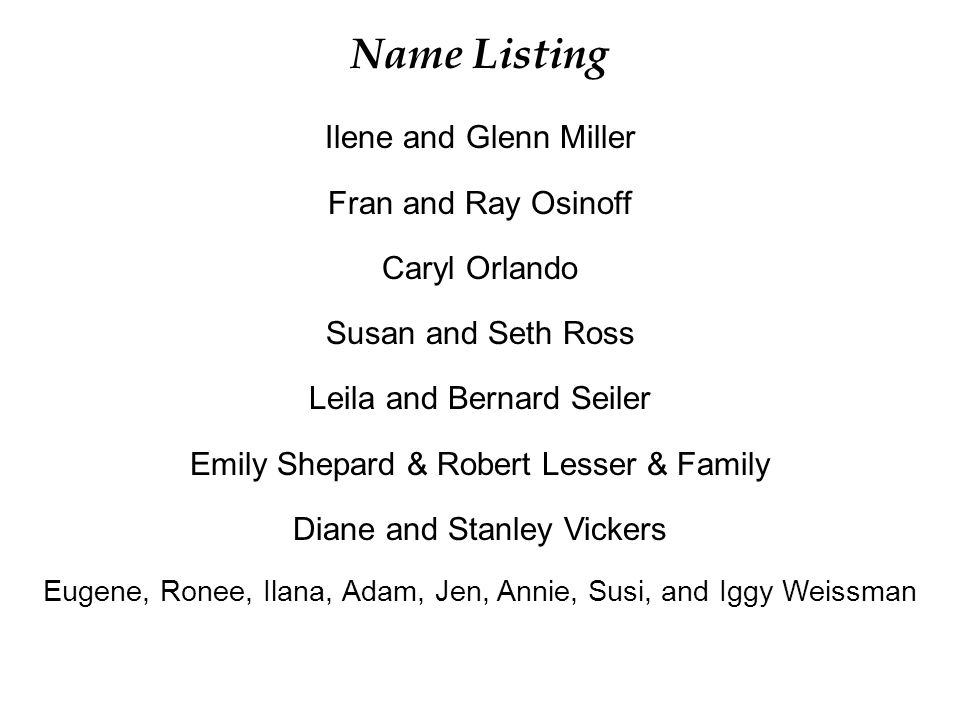 Name Listing Ilene and Glenn Miller Fran and Ray Osinoff Caryl Orlando
