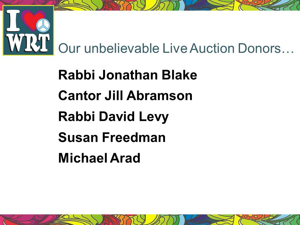Our unbelievable Live Auction Donors…