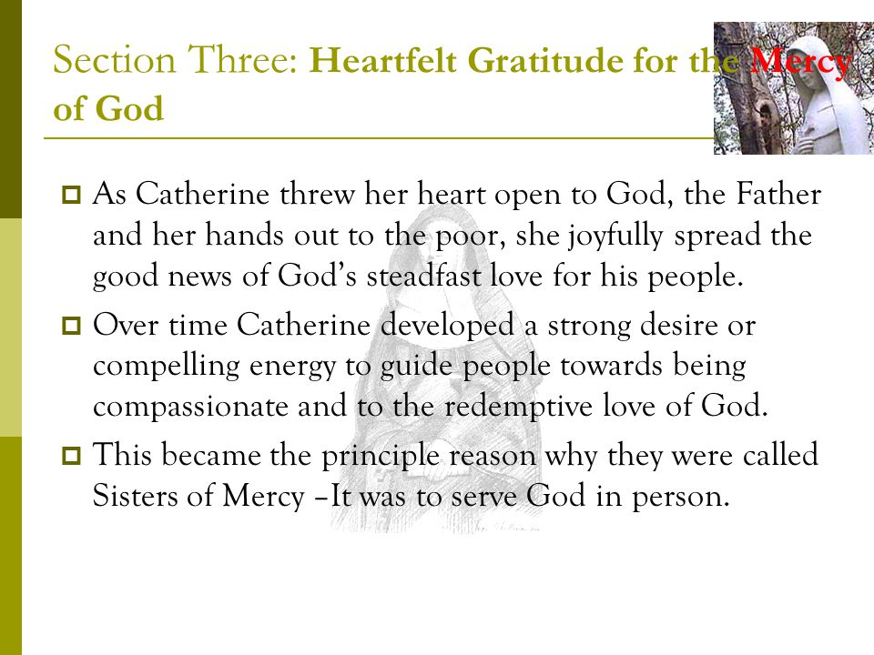 Section Three: Heartfelt Gratitude for the Mercy of God