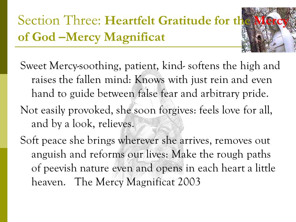 Section Three: Heartfelt Gratitude for the Mercy of God –Mercy Magnificat