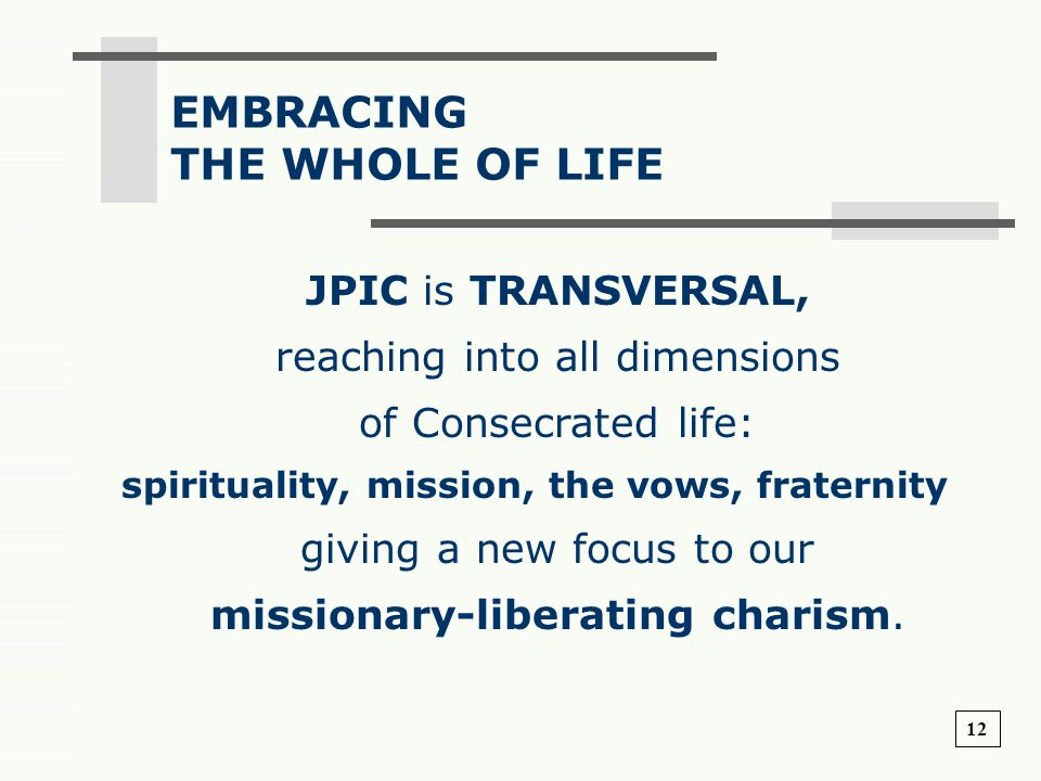 EMBRACING THE WHOLE OF LIFE JPIC is TRANSVERSAL,