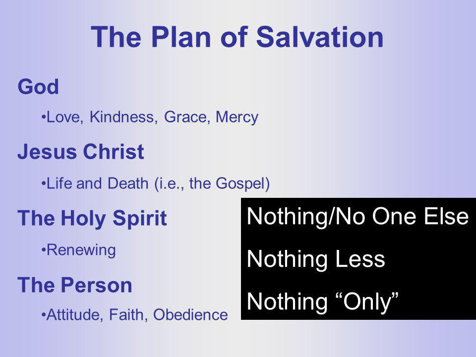 The Plan of Salvation Nothing/No One Else Nothing Less Nothing Only