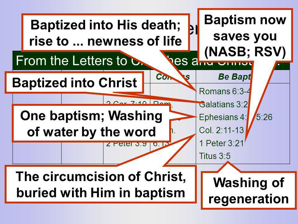 Learn the pattern... Baptism now saves you (NASB; RSV)