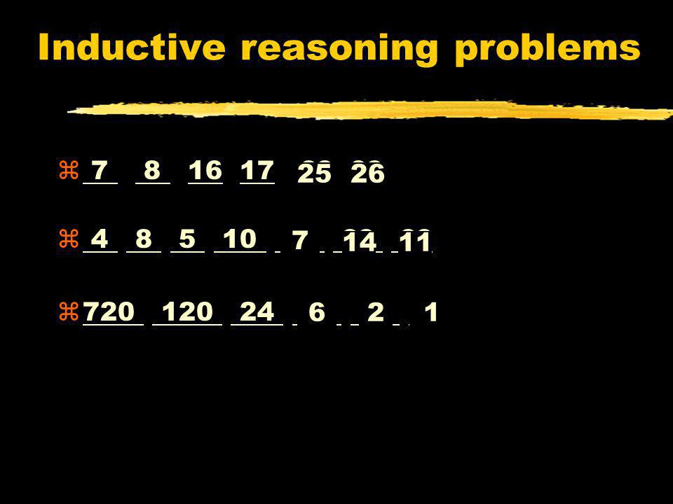 Inductive reasoning problems