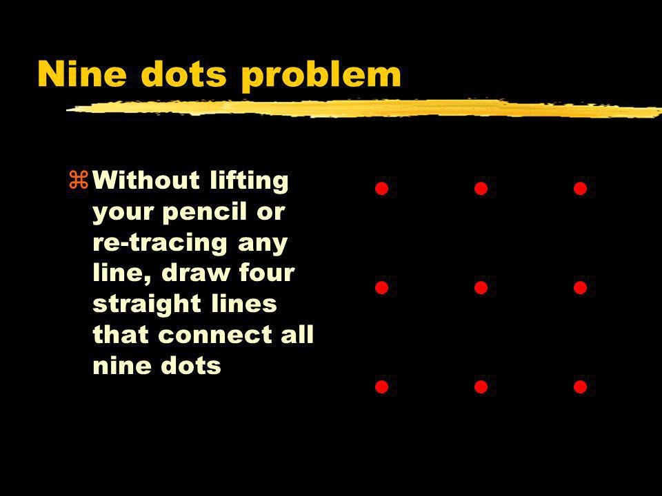 Nine dots problem Without lifting your pencil or re-tracing any line, draw four straight lines that connect all nine dots.