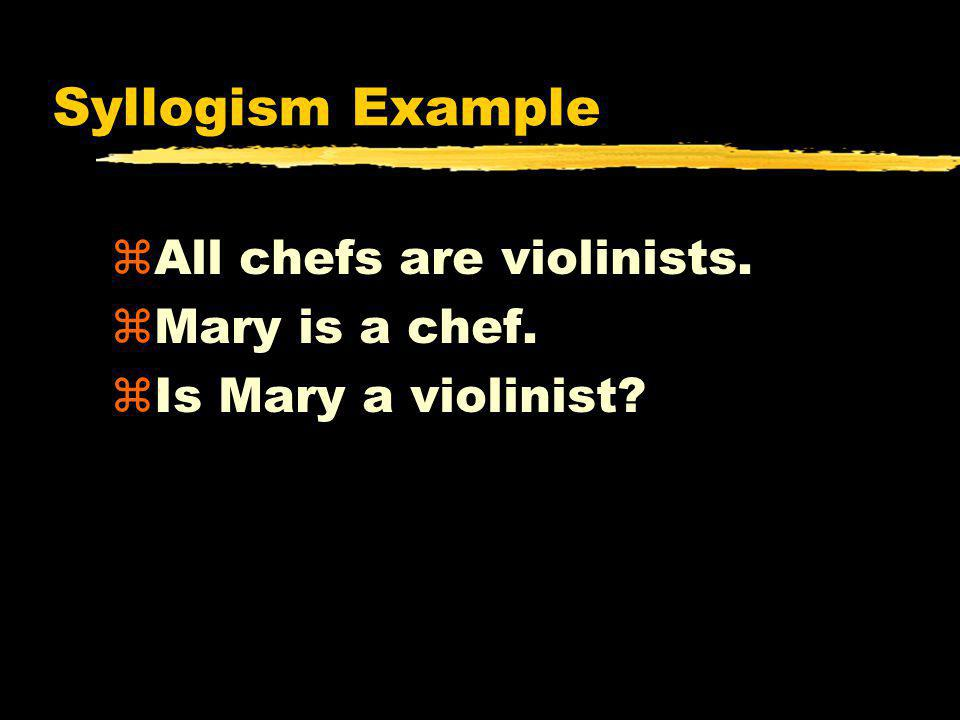 Syllogism Example All chefs are violinists. Mary is a chef.